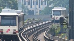 Impressive Rapid KL metro subway Train zigzag passing each other Kuala Lumpur Stock Footage