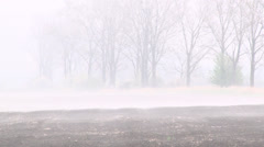 foggy farmland evaporates - stock footage