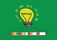 light bulb charging battery power idea design - stock illustration
