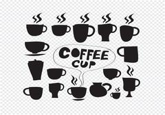 coffee cup set hand drawing - stock illustration