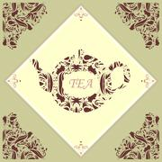Retro Teapot Tile - stock illustration