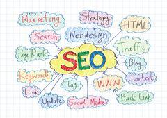 Seo idea seo search engine optimization Stock Illustration