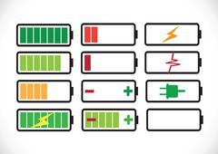 battery charge level indicators set - stock illustration