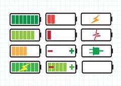 Battery charge level indicators set Stock Illustration