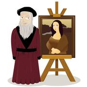 mona lisa easel and leonardo da vinci - stock illustration