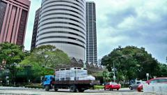 Singapore Traffic in Financial Business District - with truck, cabs, cars Stock Footage