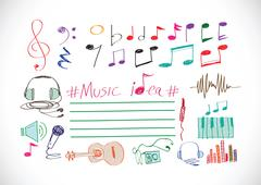 Music notes and music icons Piirros