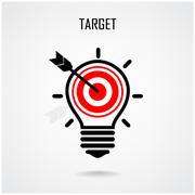 creative light bulb and target concept - stock illustration