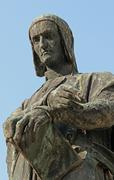 Emblematic expression of dante in a fine bronze statue Stock Photos