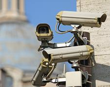 Surveillance camera to see all main points of the great metropolis Stock Photos