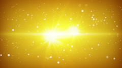 Flying particles yellow loopable background Stock Footage