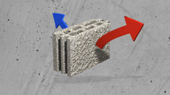 Thermal Insulation with pumice brick Stock Footage