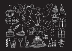 hand drawn birthday doodles vector illustration - stock illustration