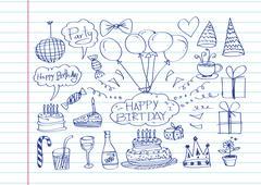 Hand drawn birthday doodles vector illustration Stock Illustration