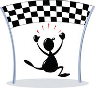 Crossing finish line - chequered flag Stock Illustration