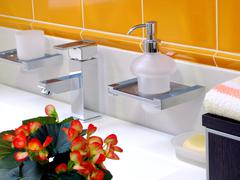 Interior of bathroom - basin and faucet Stock Photos