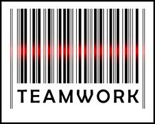 bar code icon and red laser sensor beam over teamwork - stock illustration