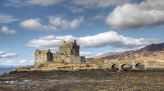 Timelapse of the famous Eilean Donan Castle in the Scottish Highlands. Stock Footage