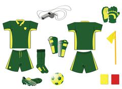 Green and yellow soccer equipment Stock Illustration