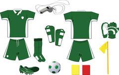 Complete green and white soccer set Stock Illustration