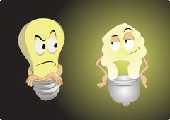 Old light bulb vs energy saving Stock Illustration