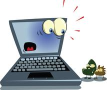 laptop and viruses - stock illustration