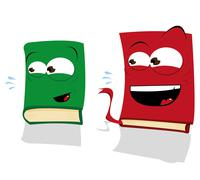 two laughing books - stock illustration