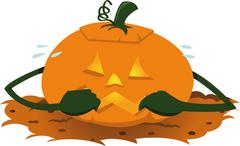 Funny scared pumpkin Stock Illustration