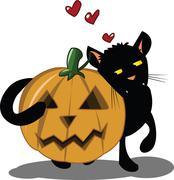 halloween kitten - stock illustration