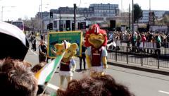Birmingham's St Patrick's Day parade 2014 - Aston Villa Mascots Stock Footage