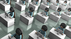 Call center concept animation, assistance, helpdesk, information. Stock Footage