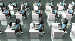 Call center concept animation, assistance, helpdesk, information. - stock footage