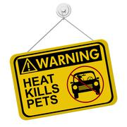 warning of leaving a dog in parked cars - stock illustration
