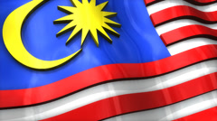 3D flag, Malaysia, waving, ripple, Asia. Stock Footage