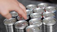 Select an energy drink Stock Footage