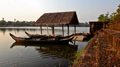 Cambodia, mekong river and small boats Stock Footage