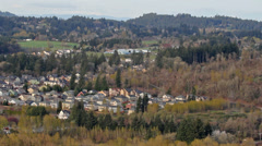 Stock Video Footage of Panoramic View of Happy Valley Oregon Suburb Housing and Homes 1080p