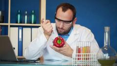 Biochemist inject chemicals in red pepper in laboratory HD Stock Footage