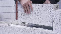 Pumice Brick Wall Stock Footage