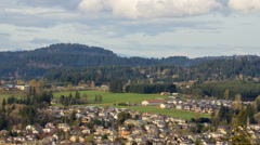 Happy Valley Oregon Suburban Housing and Homes with Moving Clouds Time Lapse Stock Footage