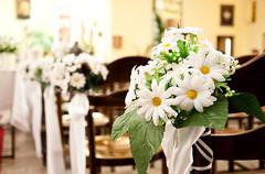 adorned  church before ceremony of the first holy communion - stock photo