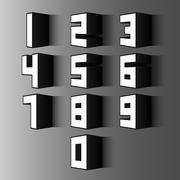 vintage 3d number set - stock illustration
