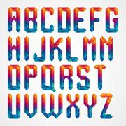 Colorful diamond font from triangles Stock Illustration