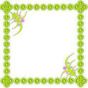 frame in the corner from light-green figures - stock illustration