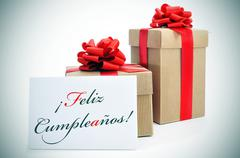 Stock Illustration of feliz cumpleanos, happy birthday written in spanish