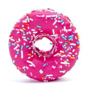 Donut coated with a pink frosting and sprinkles of different colors Stock Photos