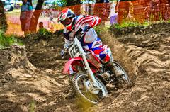 Motocross rider in championship race Stock Photos