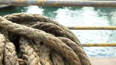 Close up. Marine rope. - stock footage