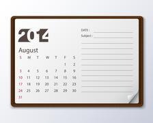 August 2014 calendar Stock Illustration