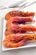 spanish shrimps with garlic and parsley - stock photo